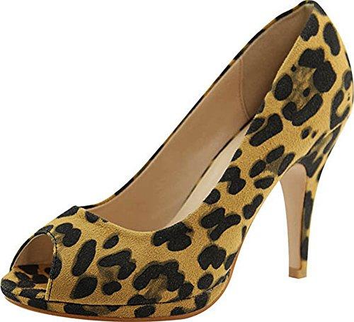 Leopard Peep Toe Pump Heel (Bella Marie Women's Classic Peep Toe Platform Stiletto High Heel Dress Pump (7 B(M) US, Leopard))