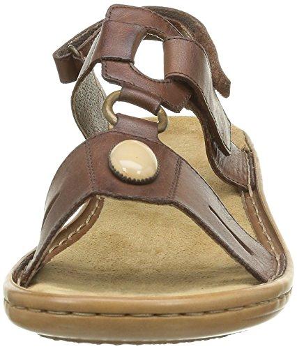Rieker - Sandalias de cuero para mujer Marrón
