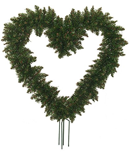 Northlight  Unlit Green Pine Artificial Heart Shaped Valentines Day Wreath with Ground Stakes, 22