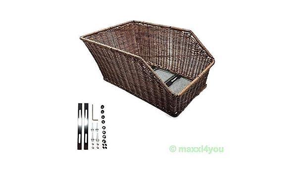 3a7d3b491fe Portaequipajes-Cesta de mimbre Cesta de plástico de imitación trasera cesta  de bicicleta marrón-01170108: Amazon.es: Deportes y aire libre