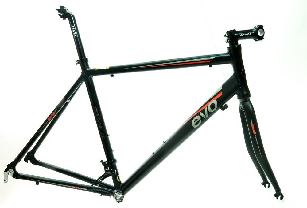 EVO Vantage 7.0 52cm Medium Aluminum Road Bike Frameset Fork + Extras Black NEW