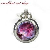 Orion Nebula Pocket Watch Necklace Pink Fuschia Lavender Orion Nebula Watch Necklace Astronomy Pendant
