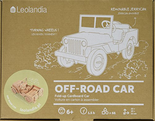 Leolandia Off-Road Creative DIY Cardboard Car Model, Natural