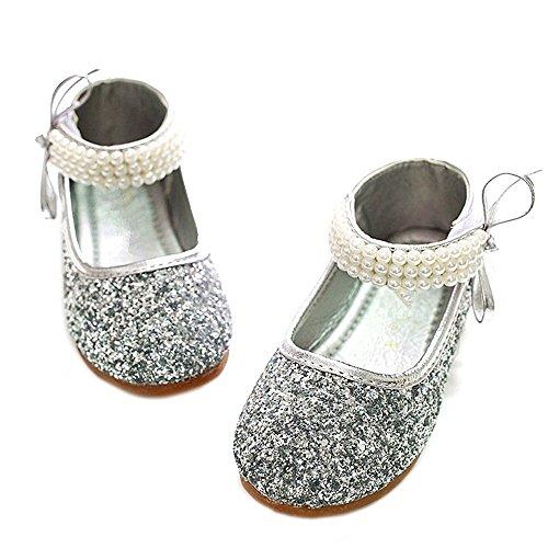 YING LAN Girl Round-Toe Sparkle Bowknot Ballet Ballerina Flat Princess Wedding Shoes Mary Janes (3.5 M US Big Kid, Silver)