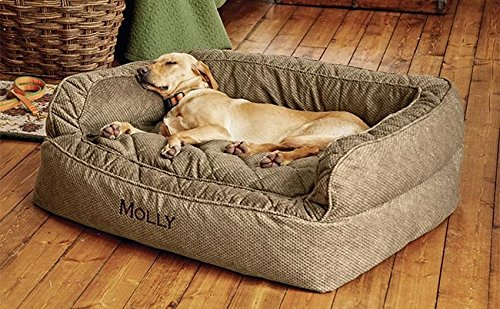 Orvis Comfortfill Couch Dog Bed/Small Dogs Up to 40 Lbs, Brown Tweed,