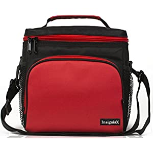 "Insulated Lunch Bag: InsigniaX Adult Lunch Box For Work, Men, Women With Adjustable Strap, Front Pocket and Side Pocket [Unisex Lunch Bags] H: 8.4"" x W: 6.3"" x L:9.1"" (Black & Red)"