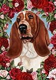 Cheap Basset Hound – Tamara Burnett Valentine Roses Large Flag