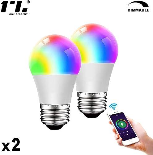 Smart LED Light Bulb 2.4G E26 WiFi Dimmable Multicolor Light Bulb Compatible