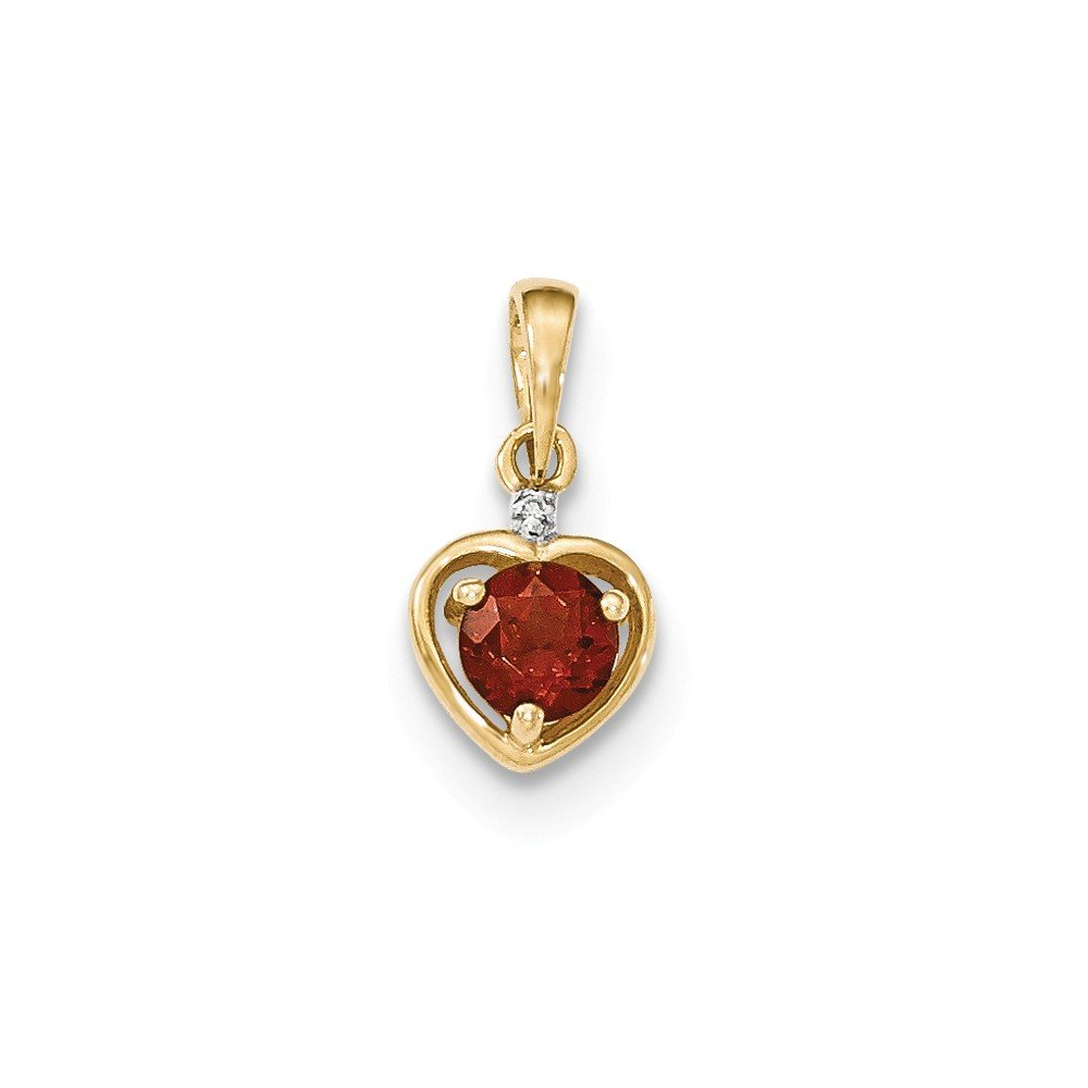 Diamond2Deal Femme 0,58CT Round Cut Grenat et Diamant Pendentif en Forme de cœur Or Jaune 14K