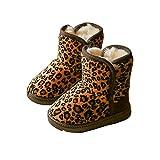 BININBOX Girls Leopard Winter Snow Boots Warm Cotton Shoes Kids (8 M US Toddler, Deep Coffee)