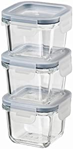 IKEA 365+ Food container with lid, Square/Glass 180ml, Set of 3