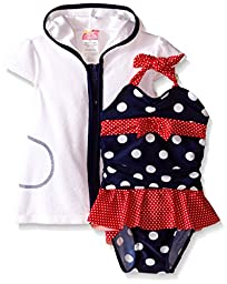 Sol Swim Baby Dotty Twin 1 Piece Swimsuit with Terry Cover-Up, Navy, 18 Months