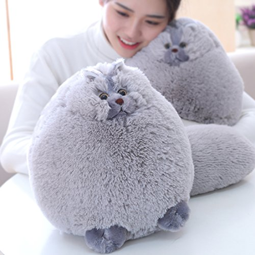 Fluffy Cat - Winsterch Kids Fluffy Stuffed Cat Toy Plush Cat Animal Toy for Boys and Girls Baby Doll Gift (Gray, 11.8 inches)