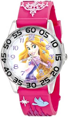 Disney Kids' W001512 Princess Plastic Watch with Pink 3D Plastic Strap