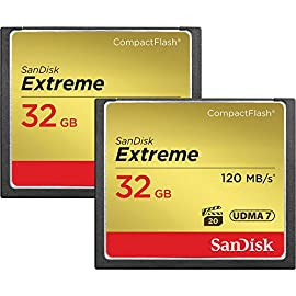 SanDisk Extreme 32GB CompactFlash Memory Card UDMA 7 Speed Up To 120MB/s 2-Pack 1 Brand SanDisk, Model SDCFXS2-032G-G46 Packaged Quantity: 2, Product Type: CompactFlash, Number of Memory Cards: 1, Storage Capacity: 32 GB,