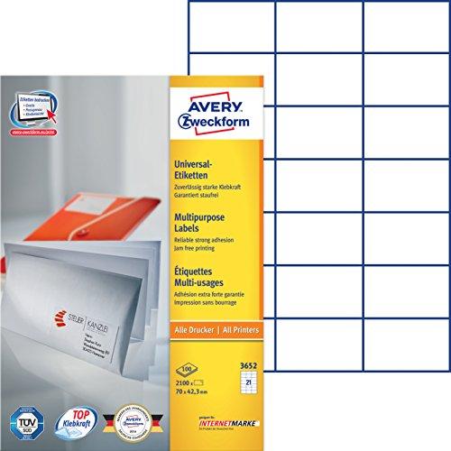 Avery Zweckform 3652 Adressetiketten (A4, Papier matt, 2,100 Etiketten, 70 x 42,3 mm) 100 Blatt weiß