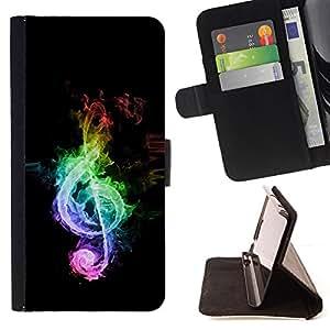 - Music Colors Colors Note - - Prima caja de la PU billetera de cuero con ranuras para tarjetas, efectivo desmontable correa para l Funny HouseFOR Sony Xperia M2
