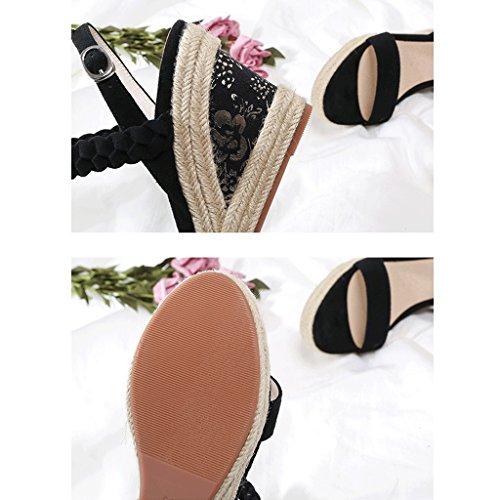 Dream Black Elegant High Heel Open-Toe Sandals Summer Fashion Women's Wedges Sandals Black zleeP2