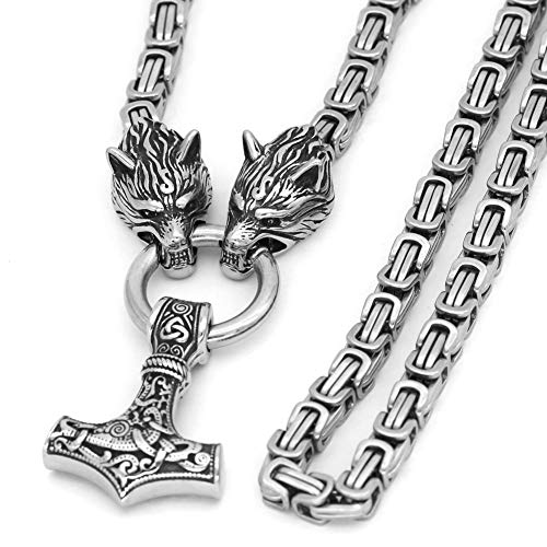 GuoShuang Men Stainless Steel Wolf Head Norse Viking Amulet Thor Hammer Pendant Necklace Viking King Chain