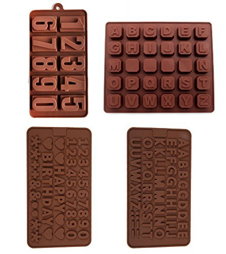 4 Pack nonstick value pack molds of Numbers 123 and Alphabet ABC Silicone baking molds for Candy Chocolate Soap (Ships From USA)
