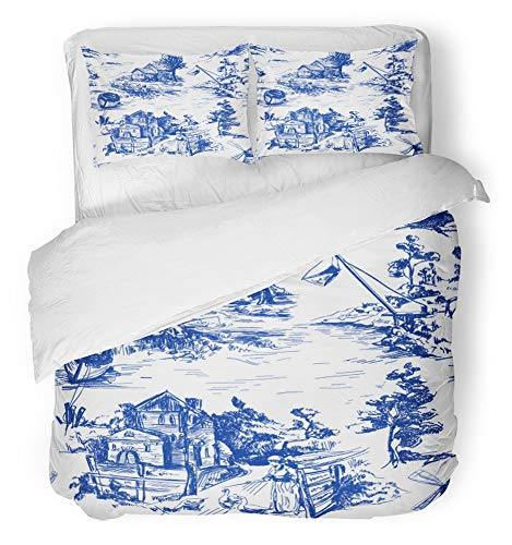 Emvency 3 Piece Duvet Cover Set Breathable Brushed Microfiber Fabric Classic with Old Town Village Scenes of Fishing in Toile De Jouy White and Blue Bedding Set with 2 Pillow Covers Full/Queen Size