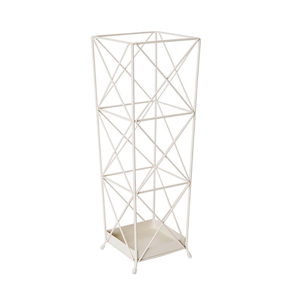 ZfgG Creative Geometric Umbrella Rack,Iron Art Umbrella Stand, White, Square