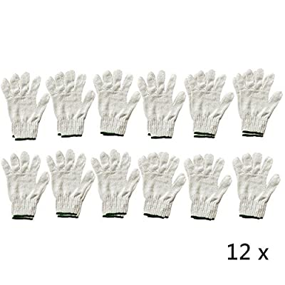 Ezyoutdoor 12 x Pair Of Whit& Green Elastic Cuff Cotton Yarn Gloves Gardening Work Industrial Worker hand Glove Worker's Safety Protection One Size