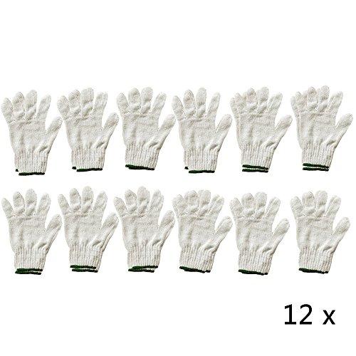 Ezyoutdoor 12 x Pair Of Whit& Green Elastic Cuff Cotton Yarn Gloves Gardening Work Industrial Worker hand Glove Worker's Safety Protection One Size