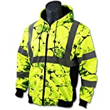 KwikSafety UNCLE WILLY'S WALL High Visibilty Reflective Anti Pill ANSI Class 3 Safety Jacket with Hoodie, Yellow, X-Large