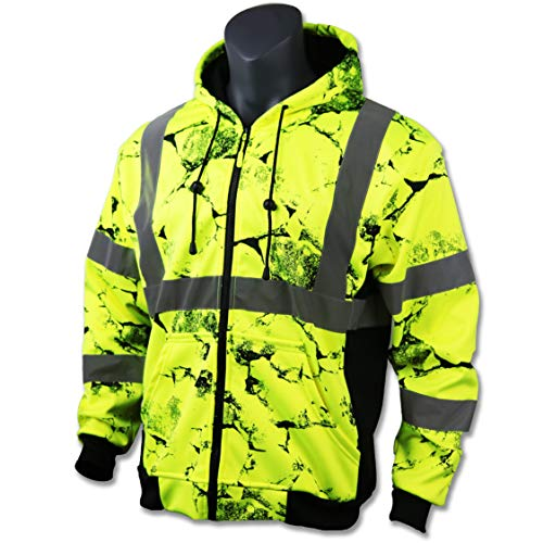 KwikSafety UNCLE WILLY'S WALL High Visibilty Reflective Anti Pill ANSI Class 3 Safety Jacket with Hoodie, Yellow, ()