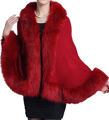 (Helan Women's Faux Fox Fur Shawl Cloak Cape Coat with Floral Purplish Red)