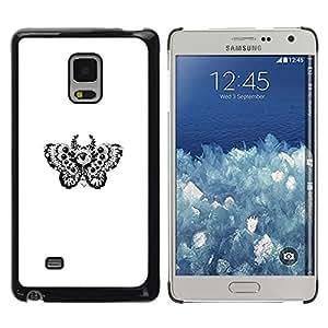 LECELL--Funda protectora / Cubierta / Piel For Samsung Galaxy Mega 5.8 -- Tatuaje Diseño floral de la mariposa B & W --