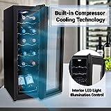 Nutrichef PKCWC120 Refrigerator-White & Red Chiller Countertop Cooler-Freestanding Compact Mini Wine Fridge 12 Bottle Capacity, Digital Control, Glass Door
