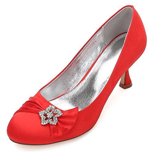 de La de Punta del Fin Curso de y 30 shoes Mujeres con Satén de high Las de La cristalinos Los Zapatos Planos del Redonda Baile Boda de Red Boda Por Encargo Zapatos F17061 Elegant Zapatos La RPBXIxqw