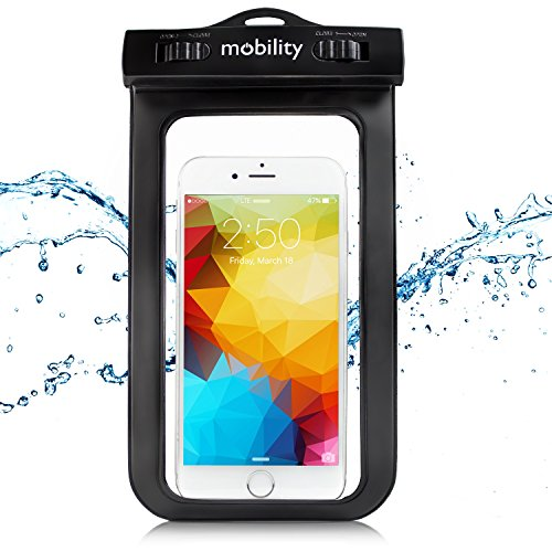 Mobility Universal Waterproof Phone Case - Best Water, Dust, Dirt, Dry Bag for Apple iPhone 6, 6s, 6 Plus, 6s Plus, 5, Samsung Galaxy S7, S6, LG G4, Nexus 6P. Fits Screens Up to 6.5