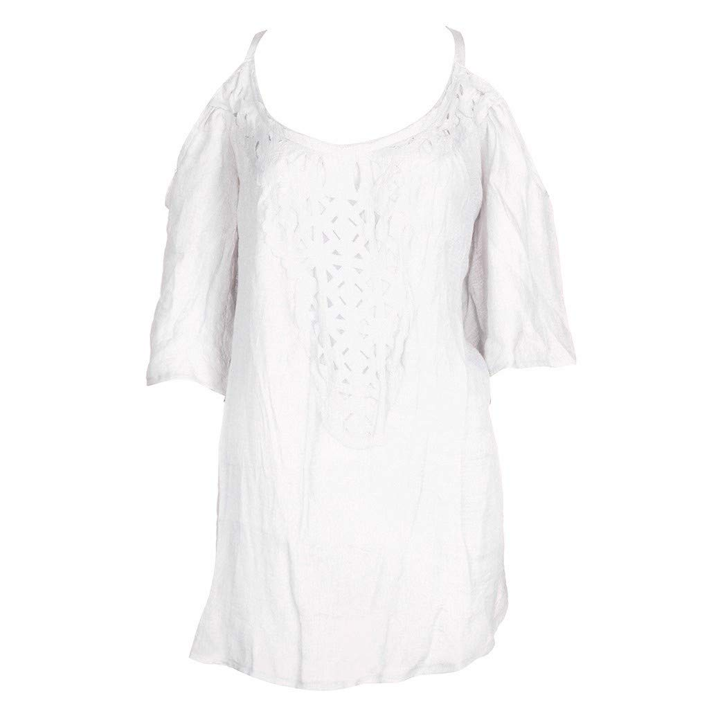 Sunmoot Clearance Sale Women Casual Linen Cold Shoulder Mini Dress,Sunmoot Fashion Half Sleeved Loose Cocktail Dresses