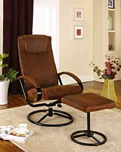 Rustic Brown Micro Fiber Fabric Relax Reclining Swivel Chair & Ottoman
