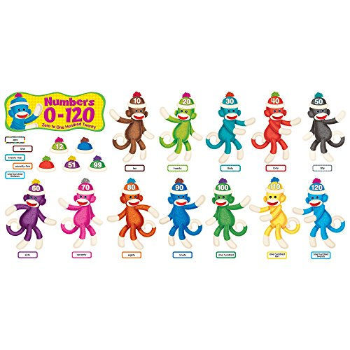 Trend Enterprises Sock Monkeys Numbers 0-120 Bulletin Board Set (T-8298) Photo #4