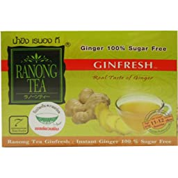 Ginfresh Instant Ginger Sugar Free Herbal Drink 100% Natural Net Wt 35 G (7 Sachets) Ranong-tea Brand X 5 Boxes