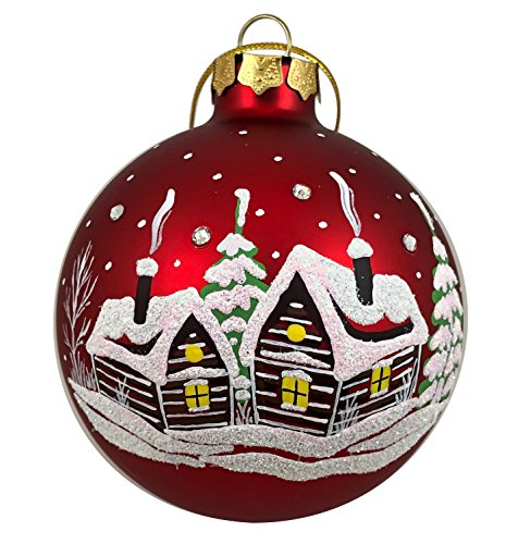 Hand-Painted Christmas Glass Ornament Ball with Swarovski Crystals Unique Artist Ball 3.25