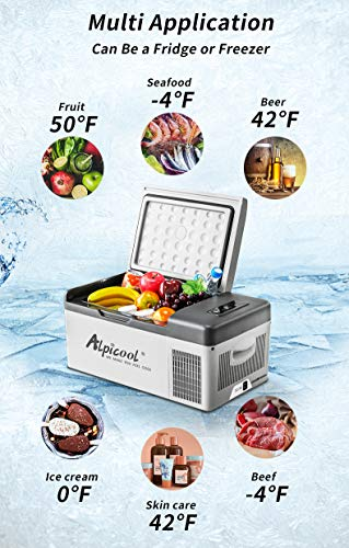 Alpicool C15 Portable Refrigerator 16 Quart(15 Liter) Vehicle, Car, Turck, RV, Boat, Mini fridge freezer for Driving, Travel, Fishing, Outdoor and Home use -12/24V DC and 110-240 AC