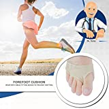 Gel Forefoot Cushion, Anti-pain Foot Insoles, Anti Grinding Metatarsal Ball of Foot Pads, Nylon Sleeves, Silicone Toe Protectors Separator, Half a Code Mat, for Foot Pain Ballet Dance Lyrical (M)