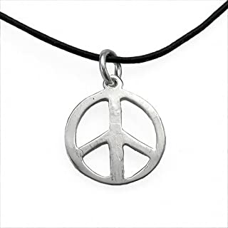 product image for Delicate Peace Symbol Silver-Dipped Pendant Necklace on Adjustable Natural Fiber Cord