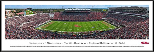 Ole Miss Football Stadium - Ole Miss Rebels Football - 50 Yard - Day - Blakeway Panoramas College Sports Posters with Standard Frame