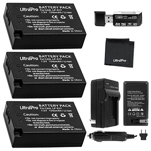 UltraPro 3-Pack LP-E17 Replacement Battery with Rapid Travel AC/DC Charger Bundle (Rapid Dc Battery Ac Charger)