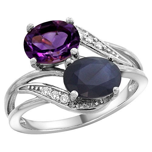 (14K White Gold Diamond Natural Amethyst & Australian Sapphire 2-stone Ring Oval 8x6mm, size 5)