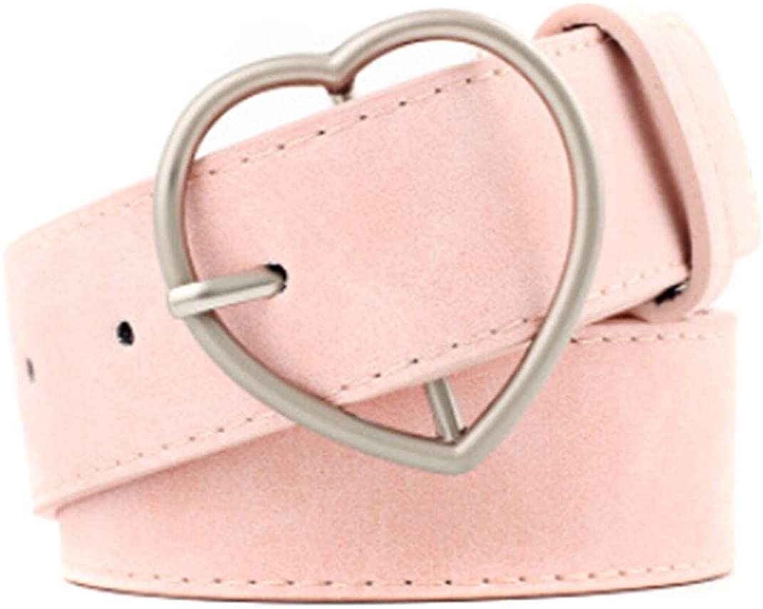 KISSFRIDAY Womens Pink Waist Belt Casual Wide Waistband with Heart Pin Buckle