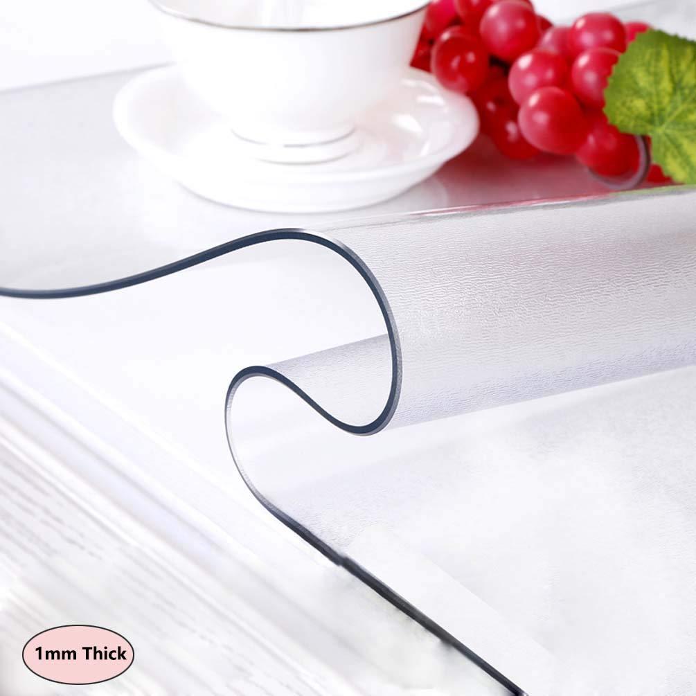 Restaurantes,1.5mm,60x60cm 24x24in Protector Mantel Transparente,Frosted,Impermeable,Grueso,F/ácil Limpieza,Mantel de PVC,Pl/ástico,Antideslizante,Cocina