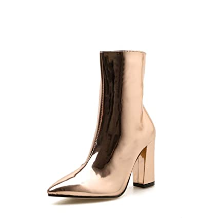 fe23f6889e2 Image Unavailable. Image not available for. Color  SANOMY Women Metallic  Glossy Ankle Boots Faux Patent Leather Short Bootie Pointed Toe Chunky Heels