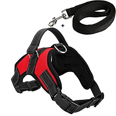 kiwitatá Dog Vest Halter Harness Leashes Set Adjustable with Handle Soft No-Pull Safety Padded Harness Pet Puppy Training Hunting Walking Heavy Duty Vest Collar Harness for Large/Medium/Small Dogs